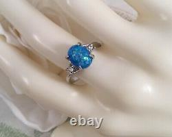Vintage Jewellery Gold Ring Blue Opal White Sapphires Antique Deco Jewelry P